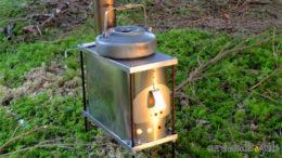 Titanium wood stove for hot tent