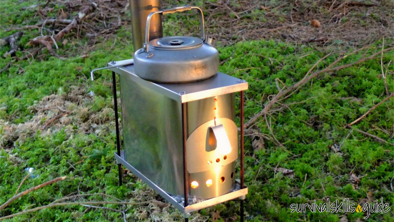 Titanium wood stove for hot tent